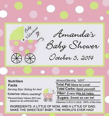 25 Personalized Its a Girl Baby Carriage Baby Shower Candy Bar Wrappers
