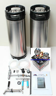 ALL BRAND NEW Complete Homebrew Beer Kegging Set Up 2 Kegs Regulator Tap or Gun