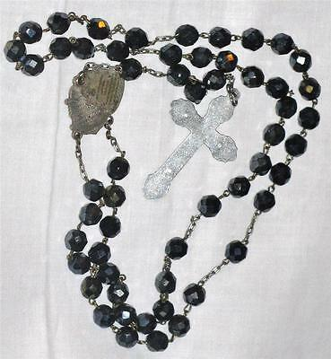 Antique Cut Crystal ROSARY BEADS Daily Mysteries Locket at Centre Murano Glass