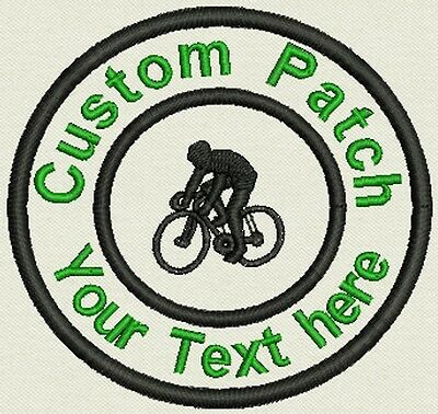 "Bike Ride 3.5"" Circle Patch Personalize with text or Name - Iron On, or Sew On"