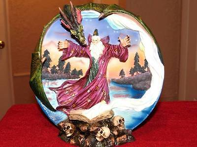 """NEW IN BOX Beautifully Detailed Dragon Wizard Fantasy Theme 8"""" Decorative Plate"""