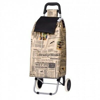 Newspaper Print Sprint Foldable Collapsible Shopping Market Trolley Cart