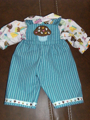"""Cabbage Patch 16"""" Doll Clothes~2 pc. CUPCAKES Overalls/Pants & Top/Shirt/Blouse"""