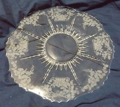 New Martinsville Meadow Wreath Etched Glass Plate 11.5