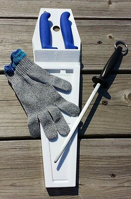 Meat Cutter's Combo Pack - Knife, Scabbard, Cut Glove And Sharpening Steel