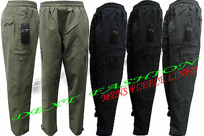 Mens Elasticated Fleece Lined Thermal Combat Cargo Warm Winter Trousers Pants