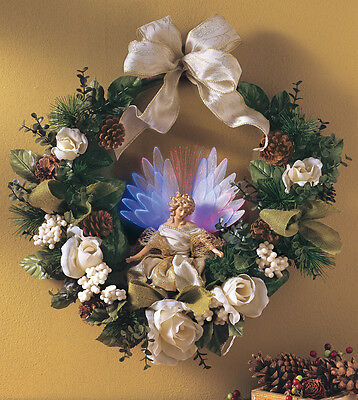 UNIQUE FIBER OPTIC LIGHTED ANGEL HOLIDAY  CHRISTMAS WREATH  NEW