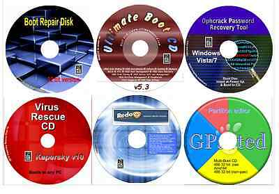Boot Repair 32, Data Recovery, Password Restore, Virus Recover, Partition 6 disk