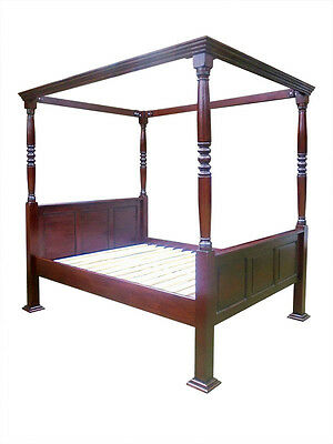 Antique Reproduction Four Poster Bed Mahogany-Jacobean Style-Double Or King Size