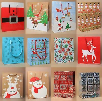 Pack Of 5 Christmas Gift Bags Or Bow Top Fold Flat Present Boxes Santa Xmas