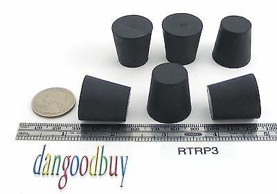 """6 Rubber Stoppers - Laboratory Stoppers - Size 3 -- Solid Rubber """"Corks"""""""