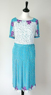 Bolmer Vintage Skirt / Blouse Suit - 1980s Turquoise Polyester Jersey- UK 10/12