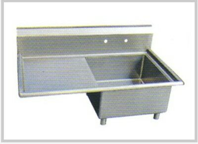 Stainless Steel 1 Compartment Sink, Bowl 14x16 Left Drainboard NSF SMS-1416L