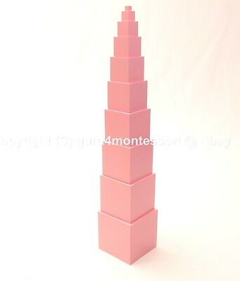 NEW Montessori Sensorial Materials - Solid Basswood Pink Tower