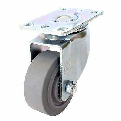 "Swivel Plate Caster with 3"" Non Marking Soft Gray Rubber TPR Wheel -CTPR3SS"