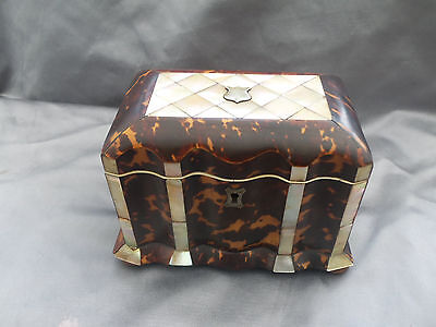 ANTIQUE FAUX TOROISESHELL AND MOTHER OF PEARL TEA CADDY