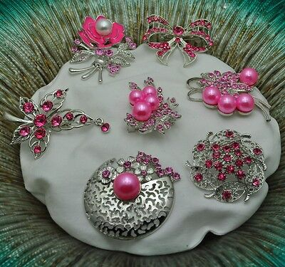 A-63 Wholesale Lot 8  Vintage Style  Brooches Pins Pink  Bouquet