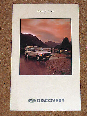 1991 Model Year Land Rover DISCOVERY PRICE LIST - Tdi, V8i