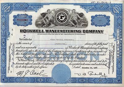 Rockwell Manufacturing Company Stock Certificate Pennsylvania Collins