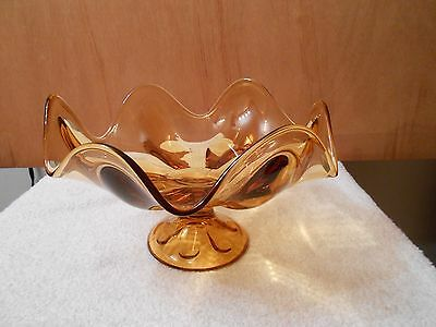 VINTAGE LARGE VIKING ART GLASS BOWL AMBER SIX PETAL ROLLED EDGE FOOTED COMPOTE