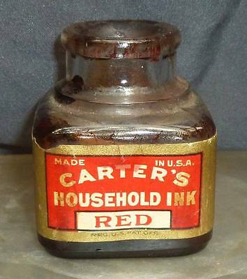 CARTER'S HOUSEHOLD RED INK BOTTLE-Full Labels-Nos 198-198 1/2-c.1910s