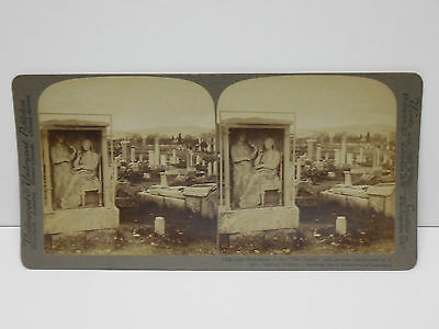 1905 Stereoview Athens Greece #18 Two Sisters Monument Underwood & Underwood