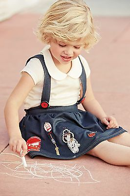 Next girls jersey pinafore and collar Tshirt top 2piece set outfit 2-3-4-5-6 yrs