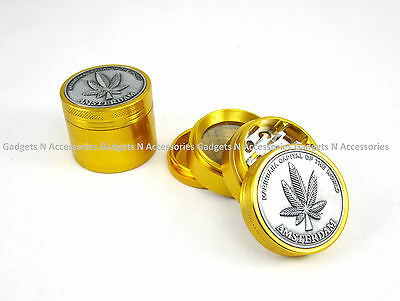 Gold Metal Amsterdam Grinder 50Mm 4 Part Grassleaf Herb Weeds Shark Teeth Stash