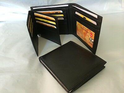 Men's Leather Wallet w/ 17 Credit Cards Holder - Black (AEW-31)