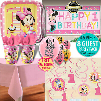 Girl 1St Birthday Party Supplies Minnie Mouse 55 Pc Mega Pack Decorations