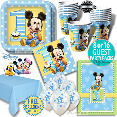Mickey Mouse Boys 1St First Birthday Party Supplies Party Packs