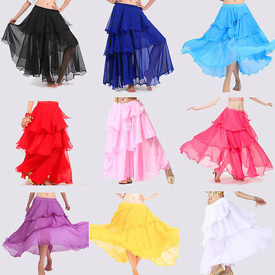 Women Lady Belly Dance Costume Hot Spiral Skirts 3 Layer Circle skirt M / L / XL
