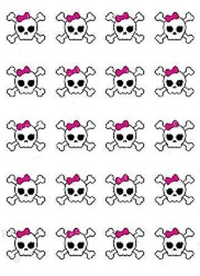 Skull with Bow Waterslide Nail Decals/ Nail Art