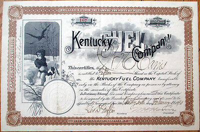 1890 Stock Certificate: 'Kentucky Fuel Company' - Maine ME - Giant Vignette - KY