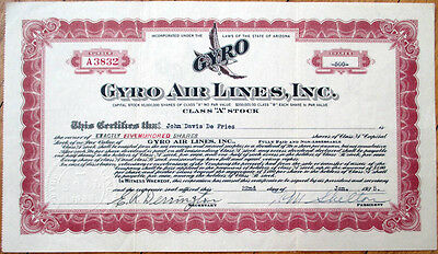 1935 Airline/Aviation Stock Certificate: Gyro Air Lines, Inc. - Arizona AZ