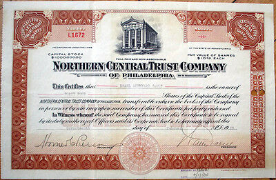 1930 Bank Stock Certificate: 'Northern Central Trust Co. of Philadelphia, PA'