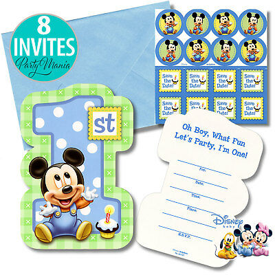 Mickey Mouse 1St First Birthday Party Supplies Invitations Invites Pack Of 8