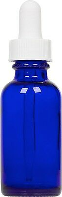 100 Pack Cobalt Blue Glass Boston Round Bottle w/ White Glass Dropper 1 oz