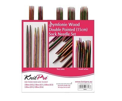 Knitpro Symfonie Wood Double Pointed Needle Set/DPN Set 15 cm length