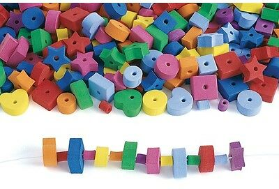 25 Large Foam Stringing Beads Hearts Square Star Circle Red Purple Yellow More!
