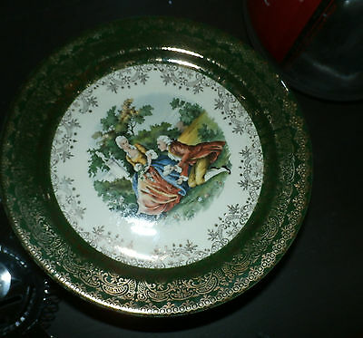Vintage TST Taylor Smith Taylor Lot of 4 bread plates Colonial couple Green