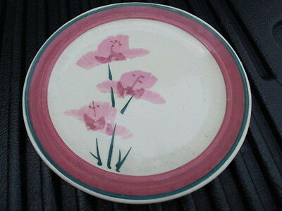 Restaurant Ware Pink rose hand painted Flowers Dinner Plate blue trim 9in.