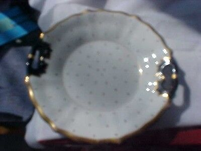 Antique Vintage KPM Hand Painted Floral Handled Plate Gold Gilting GERMANY BOWL