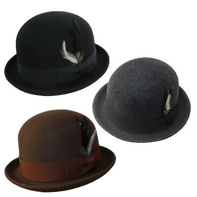 Man 100% Classic Wool Felt Feather Bowler Crushable Winter Derby Fedora Hat Gift
