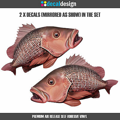 Mangrove Jack Decals 30cm Mirrored Pair of boat graphics fishing stickers