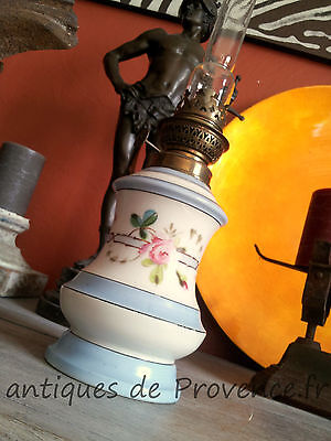 Superb antique French Oil Lamp Paris china 1880 Empire style flowers