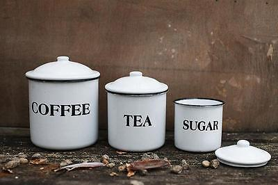 Vintage Style Enamel Canister 3 Enamelware Country Farm Kitchen Sugar Tea Coffee