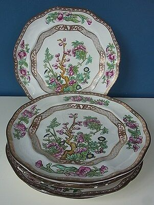 """ANTIQUE BOOTH'S SILICON CHINA """"INDIAN TREE"""" #7908 - SET 6 LUNCH PLATES - 9"""" 1906"""