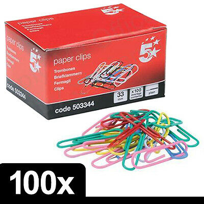 100 x Quality Assorted Mix Coloured Plain Paper Clips 33mm Steel Metal with Box