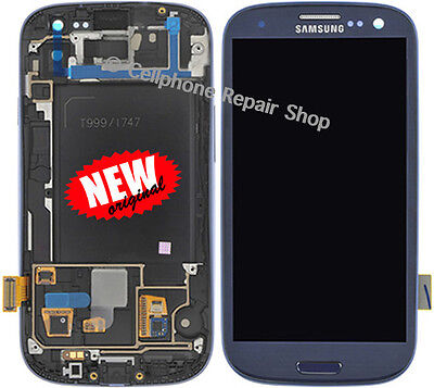 AT&T Galaxy S3 Samsung I747 LCD Display Touch Screen Digitizer Glass Frame Blue